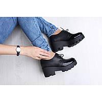 Кожаные черные женские туфли на платформе 3216-09