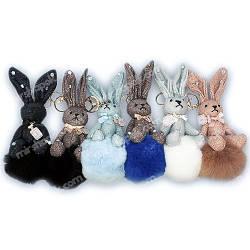 Брелок кролик на меховом шаре, KB02