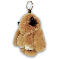 Меховой брелок кролик с ресничками, KM02, 13 см.