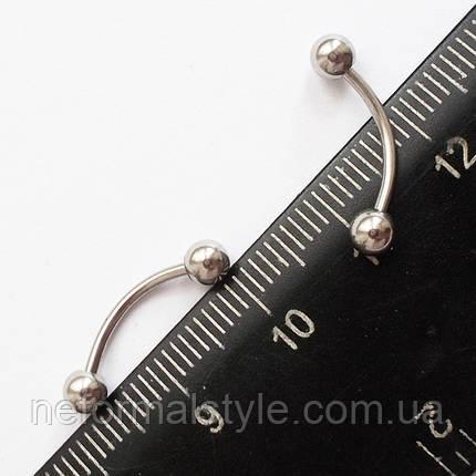 Для прикраси пірсинг брови 12 мм з кульками 4 мм. Медична сталь., фото 2