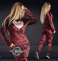 Женский бордовый спортивный костюм - 16876