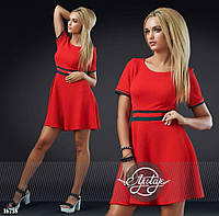 Красное короткое платье с фукры - 16758