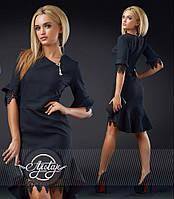 Стильное черное платье до колен - 16761