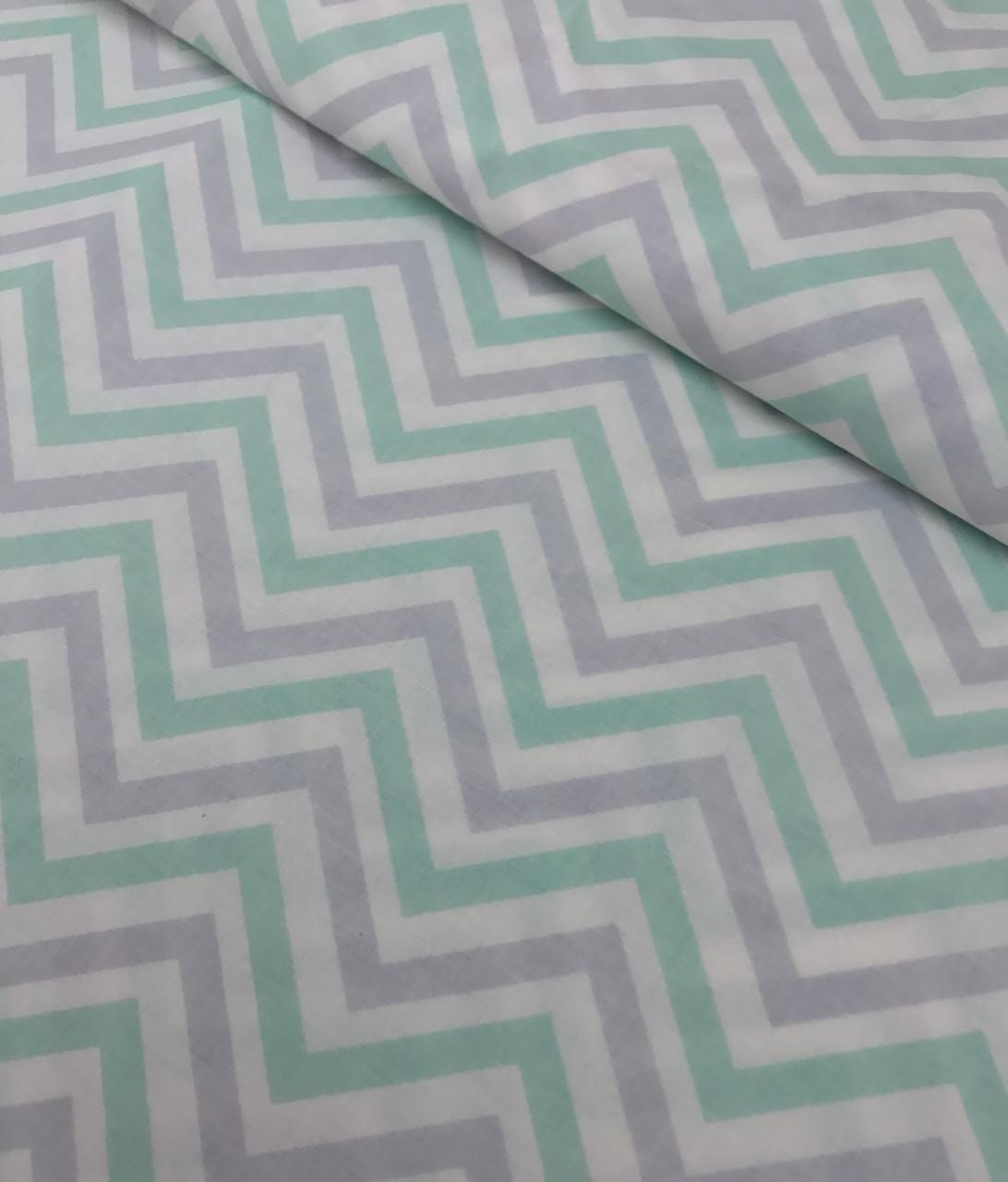 Хлопковая ткань польская зигзаги серо-мятные №530
