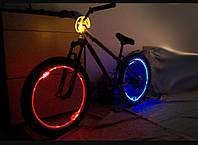 Подсветка колеса велосипеда световым проводом + светящийся блок