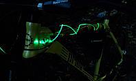 Шнурки светящиеся зеленые + светящийся блок