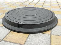 Люки канализационные полимерпесчаные легкие черные с замком (до 3т)