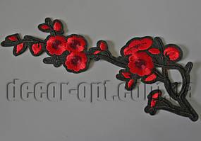 Термонаклейка вышивка Ветка красных цветов 22см F02