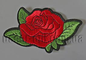 Термонаклейка вышивка Роза красная 12см F5