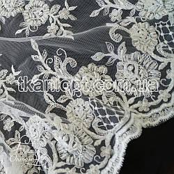 Ткань Гипюр расшитый бисером (белый)