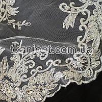 Ткань Гипюр расшитый бисером,пайетками (белый)