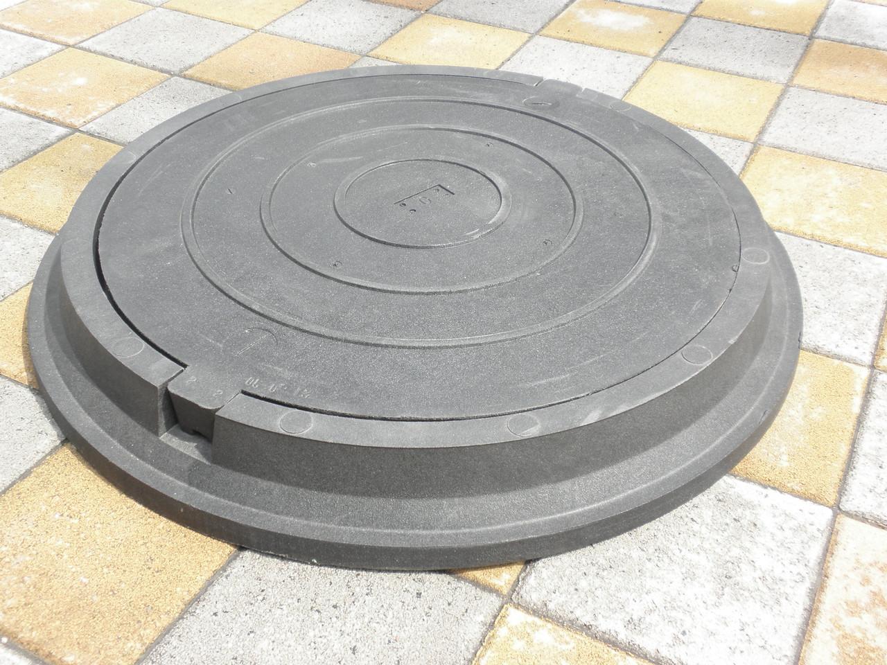 Люк канализационный полимерпесчанный средний черный