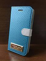 """Кожаный чехол-книжка """"Michael Kors"""" бирюзовый для iPhone 5/5S/SE"""