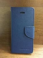 """Кожаный чехол-книжка """"Goospery"""" темно-синий для iPhone 5/5S/SE"""