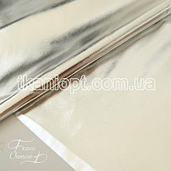 Ткань Стрейчевый кожзам блестящий (серебро)