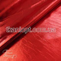 Ткань Стрейчевый кожзам блестящий (красный)