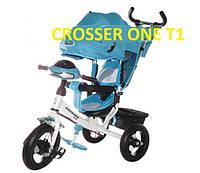 Велосипед детский трехколесный Azimut Trike Crosser One T1 ФАРА (надувные колёса) голубой