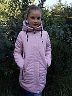 Полу-пальто демисезонноеподростковоедля девочки 8-12 лет,пудровый цвет