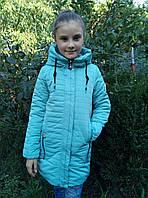 Полу-пальто демисезонноеподростковоедля девочки 8-12 лет,мятныйцвет