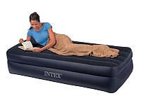 Надувная кровать велюровая Intex 64122 с электронасосом 220V
