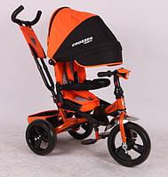Трехколесный велосипед с поворотным сиденьем Azimut Crosser T-400 оранжевый (пенорезина)