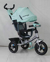 Велосипед детский трехколесный Azimut Trike Crosser One T1 ФАРА (надувные колёса) мята