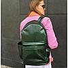 Школьный рюкзак зелёный глянцевый