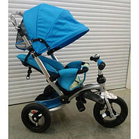 Трехколесный детский велосипед Faster trike 698 с опускающейся спинкой (голубой)