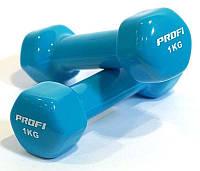 Гантель виниловая для фитнеса 1 кг PROFI M 0289 (розовая, красная и голубая)