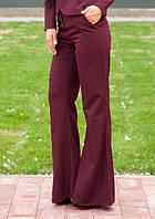 Бордовые брюки клеш