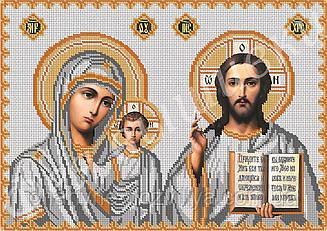 """Схема для вышивки бисером на габардине иконостас """"Богородица Казанская и Иисус Христос"""" (полная зашивка)"""