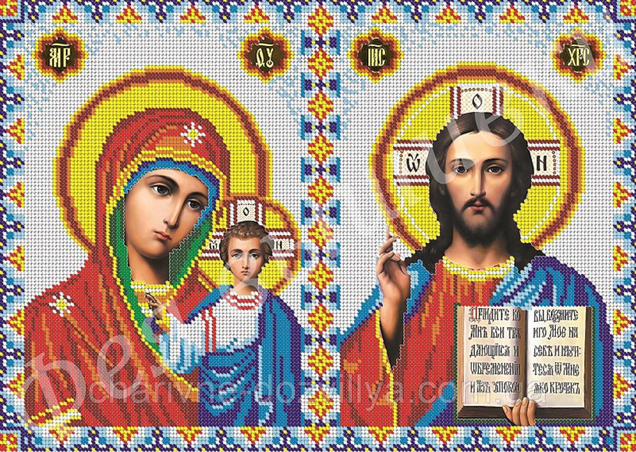 """Схема для вишивання бісером на габардині іконостас """"Богородиця Казанська і Ісус Христос"""" (повна зашивання)"""