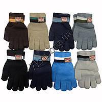 Перчатки подростковые одинарные для мальчиков 8-12 лет Оптом 5671 S