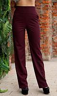Бордовые брюки с высокой посадкой и карманами