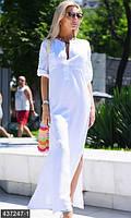 Красивоеженское платье рубашка в пол свободного фасона под пояс рукав три четверти лен