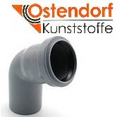Колено HTB ПП 50х67° Ostendorf (Osma) Германия раструбная с уплотнительным кольцом, серый