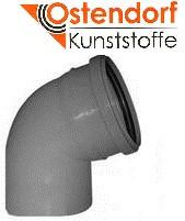 Колено HTB ПП 110х67° Ostendorf (Osma) Германия раструбная с уплотнительным кольцом, серый