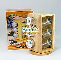 """Набор для специй на деревянной подставке (6 емкостей) Stenson """"Woody"""" (MS-0370)"""
