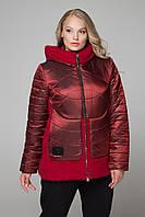 Стильная яркая бордовая курточка больших размеров CR-10604 ТМ  Сaramella 50-62 размеры