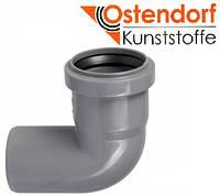 Колено HTB ПП 50х87° Ostendorf (Osma) Германия раструбная с уплотнительным кольцом, серый