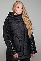 Черная курточка больших размеров CR-10603 ТМ  Сaramella 52-68 размеры