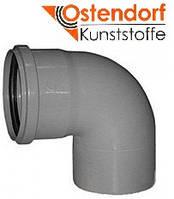 Колено HTB ПП 110х87° Ostendorf (Osma) Германия раструбная с уплотнительным кольцом, серый