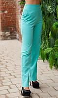 Ментоловые брюки с высокой посадкой и карманами