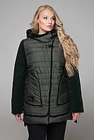 Зеленая курточка больших размеров CR-10603 ТМ  Сaramella 52-68 размеры