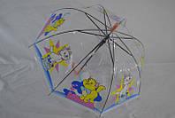 Прозрачный детский зонтик  полуавтомат от 3 до 5 лет  грибком хорошего качества