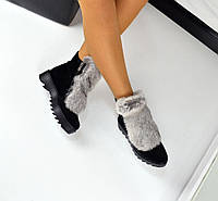 Женские зимние ботиночки натуральный замш, мех - натуральный кролик, 36-40р.