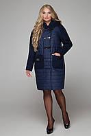 Зимнее синее пальто большого размера CR-10600 ТМ  Сaramella 50-62 размеры