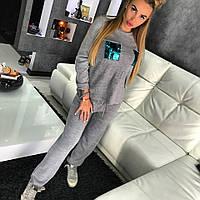 Костюм Doratti женский стильный кофта с карманами из пайеток и брюки вязка шерсть с акрилом Ddor640