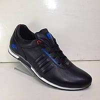 """Мужские кожаные кроссовки """"Adidas"""" черные, фото 1"""