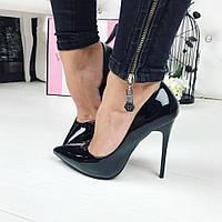 Женские туфли-лодочки чёрные Польша
